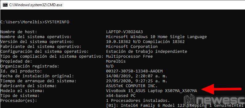Saber modelo del portátil Windows Símbolo del sistema 2