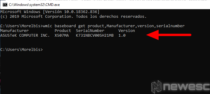 Saber modelo del portátil Windows Símbolo del sistema