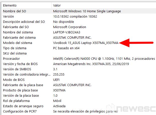 Saber modelo del portátil Windows10 Información