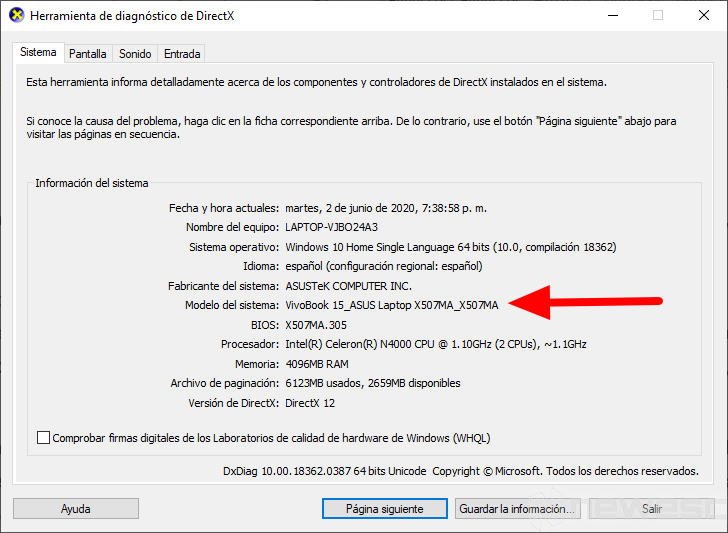 Saber modelo del portátil Windows10
