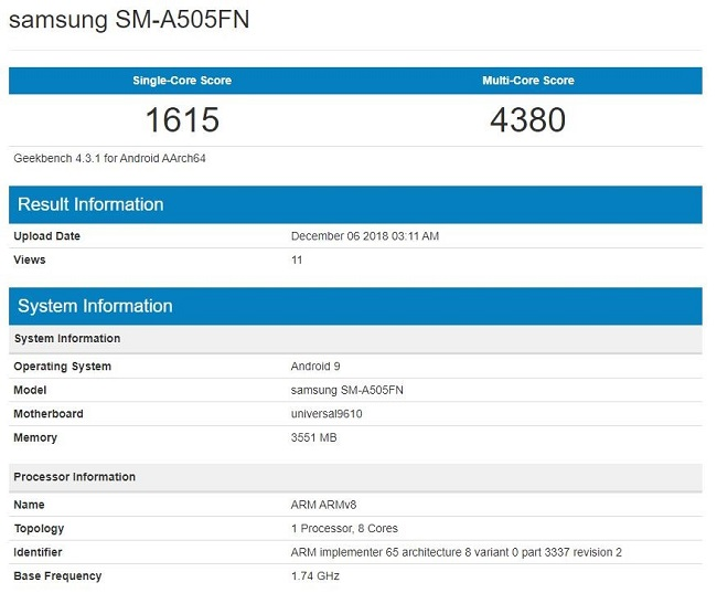 Samsung Galaxy A50 por Geekbench