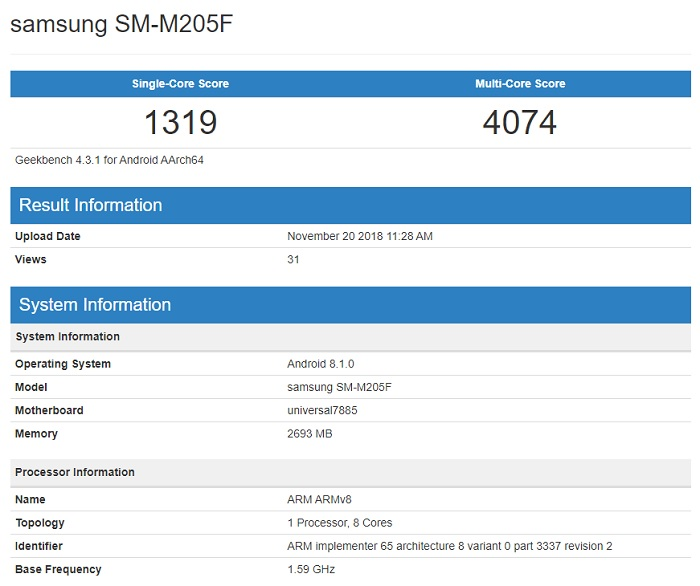 Samsung Galaxy M2 en Geekbench