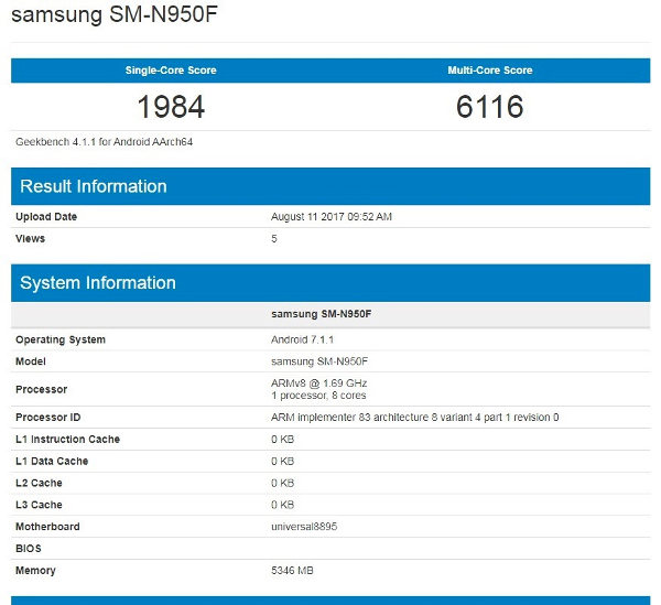 Samsung Galaxy Note 8 Exynos Geekbench