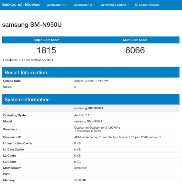 Samsung Galaxy Note 8 Snapdragon Geekbench