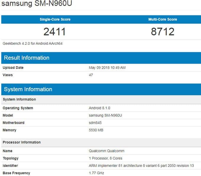 Samsung Galaxy Note 9 en Geekbench