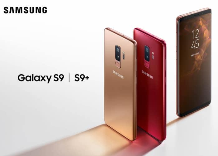 Samsung Galaxy S9 dorado y rojo