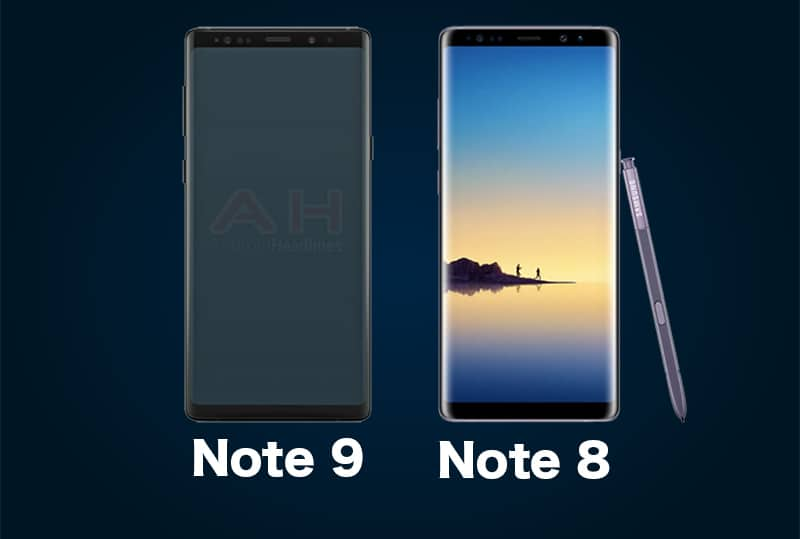 Samsung Note 9 leak vs Note 8