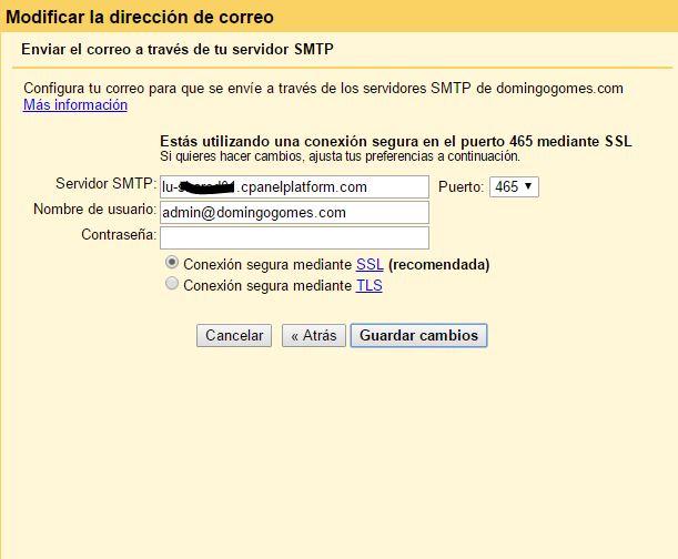 Servidor SMTP Gmail