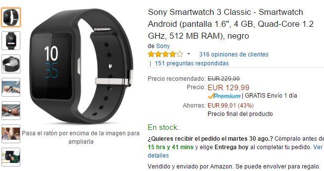 Smartwatch de sony por 129 euros