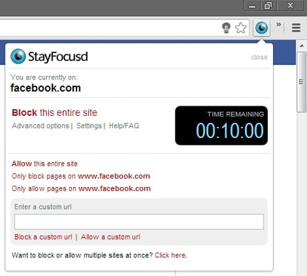 StayFocusd Plugin para Chrome