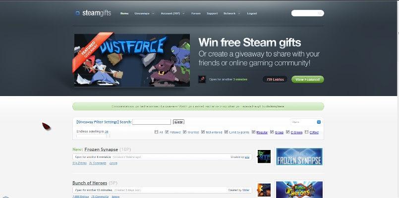 Juegos gratis SteamGifts