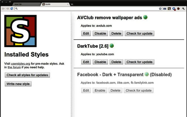 Stylish Plugin para Chrome