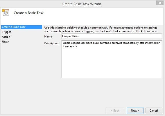 Task Scheduler Disk Cleanup paso 3
