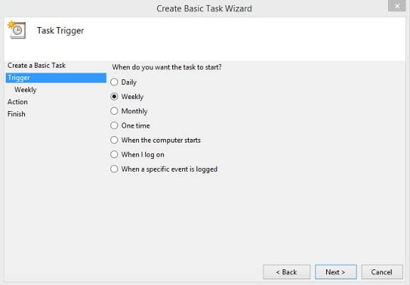 Task Scheduler Disk Cleanup paso 4