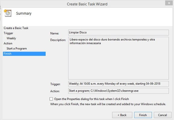 Task Scheduler Disk Cleanup paso 7