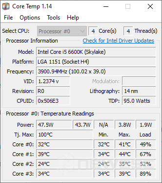 Temperatura CPU Core Temp
