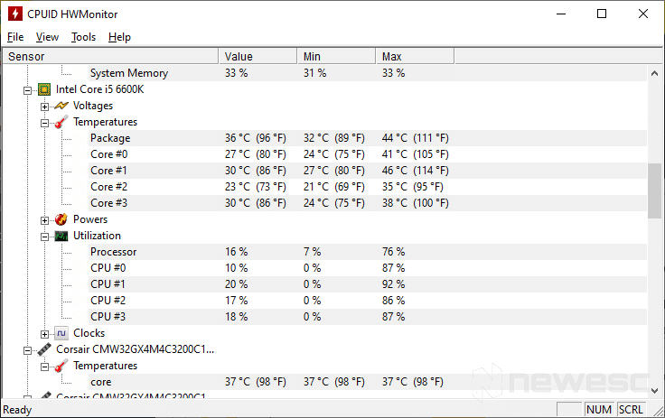 Temperatura CPU HW Monitor