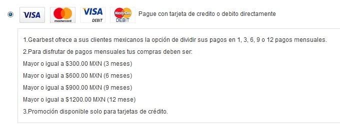 Tipos de pago GearBest Mexico