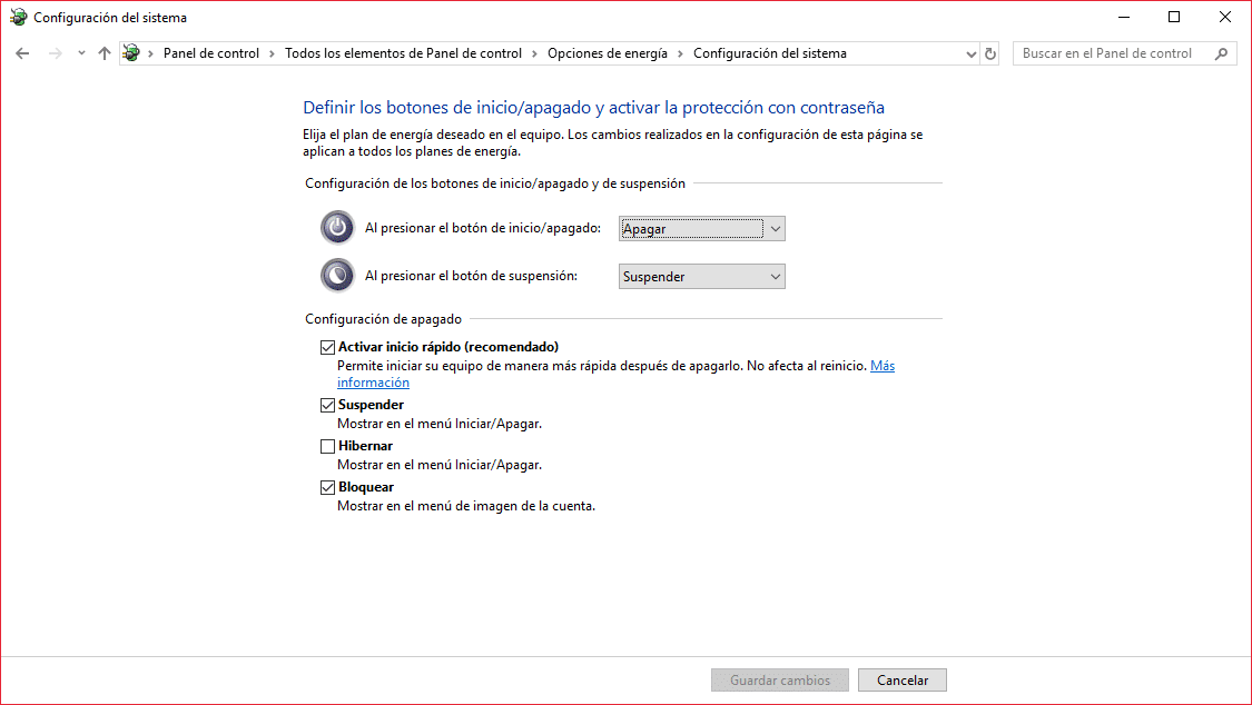 Trucos Windows 10 - Activación del arranque rápido