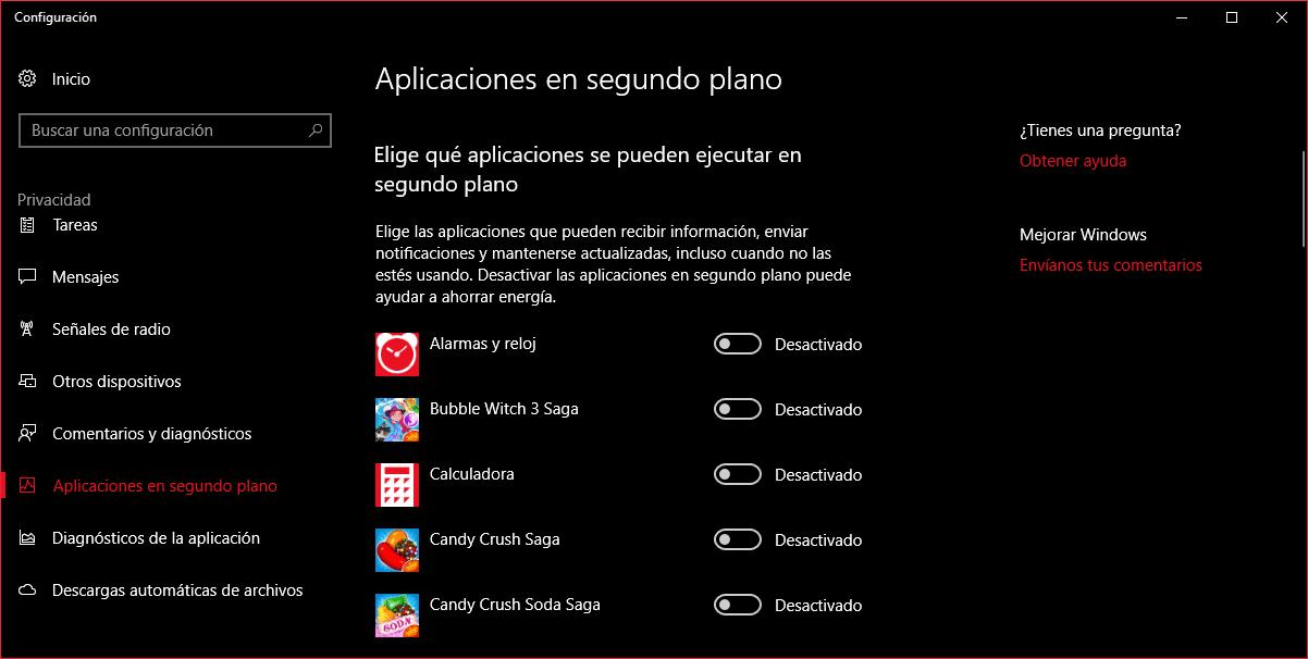 Trucos Windows 10 - Aplicaciones en segundo plano