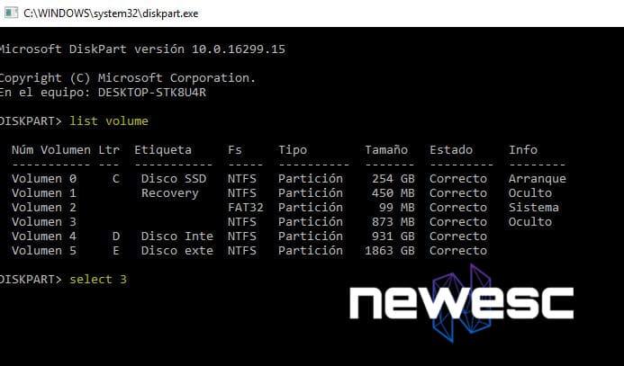 Usa la herramienta Diskpart para cambiar la letra del disco duro