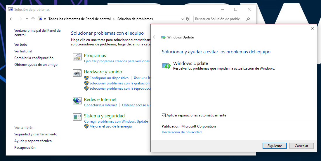 Utiliza el Solucionar Problemas de Windows 10