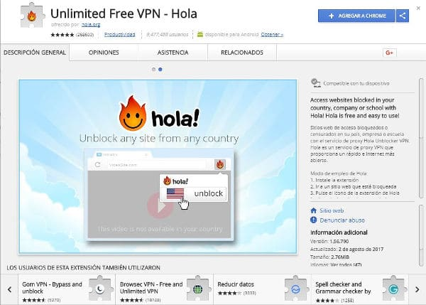VPN proxy para Chrome gratis