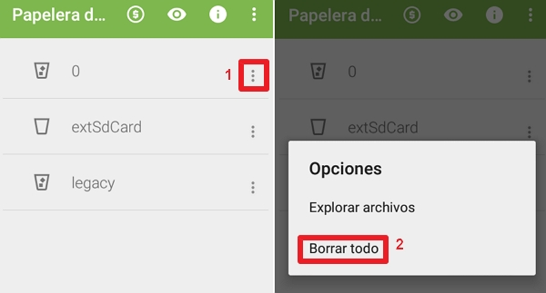 Vaciar papelera Android