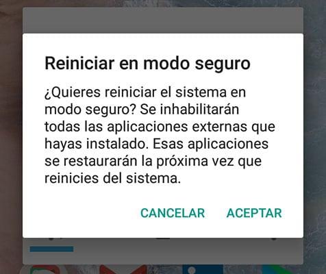 Virus Android - Reiniciar en modo seguro
