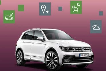 Volkswagen con iconos de las funciones de la app car-net