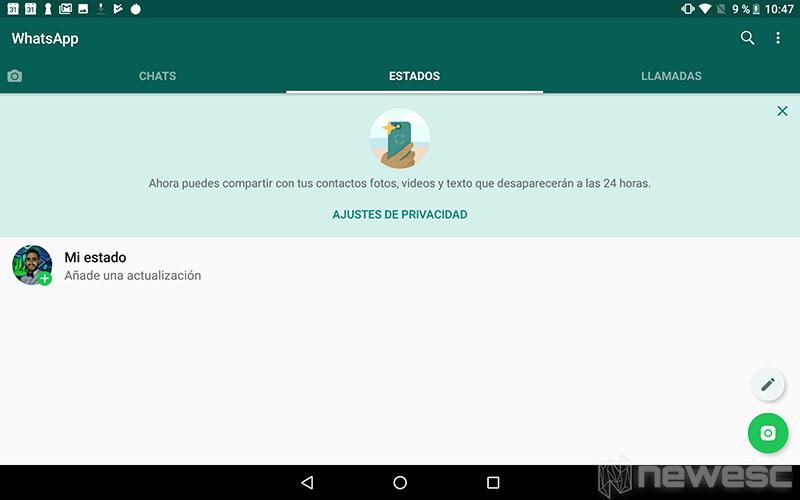 WhatsApp para Tablet - Instalación concluida