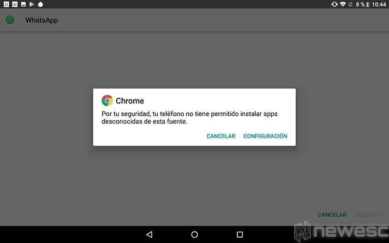 WhatsApp para Tablet - Instalar fuentes desconocidas