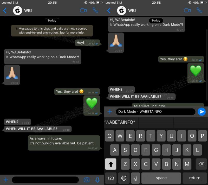WhatsApp tema oscuro pantallazos