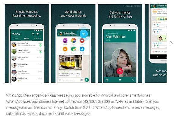 Whatsapp Detalles en la ficha técnica