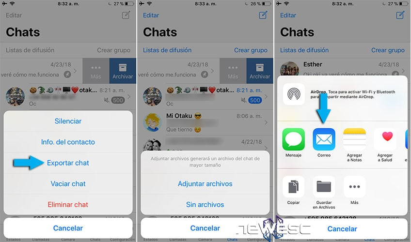 Whatsapp Exportar chat email