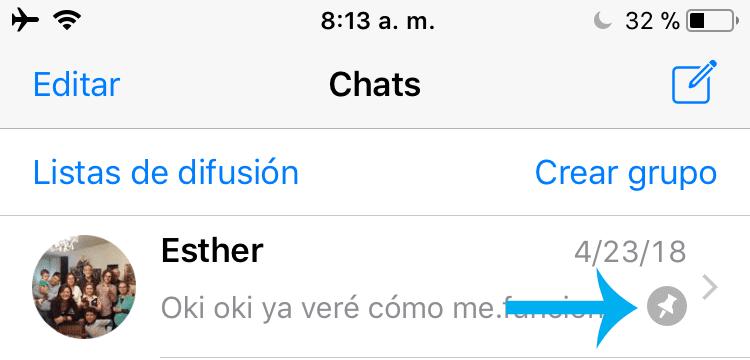 Whatsapp Pin una conversación