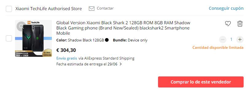 Xiaomi Black Shark 2 en AliExpress