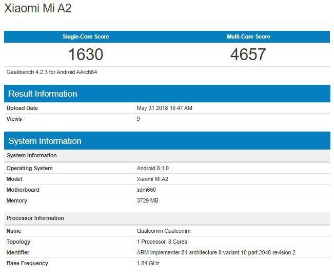Xiaomi Mi A2 en geekbench
