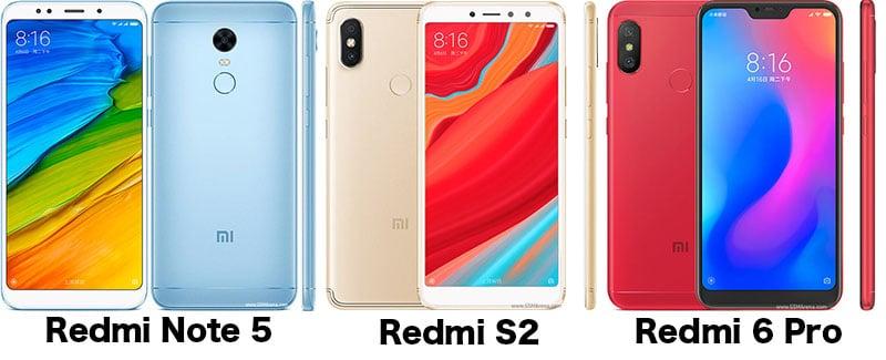 Xiaomi Redmi 6 Pro vs Redmi S2 vs Redmi Note 5