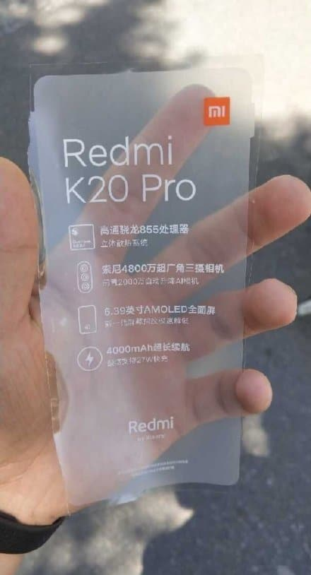 Xiaomi Redmi K20 Pro plástico rumor