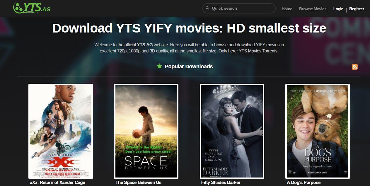 YTS.AG paginas de torrents