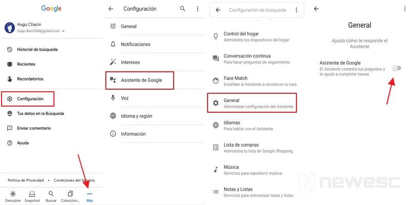 activar el asistente de google