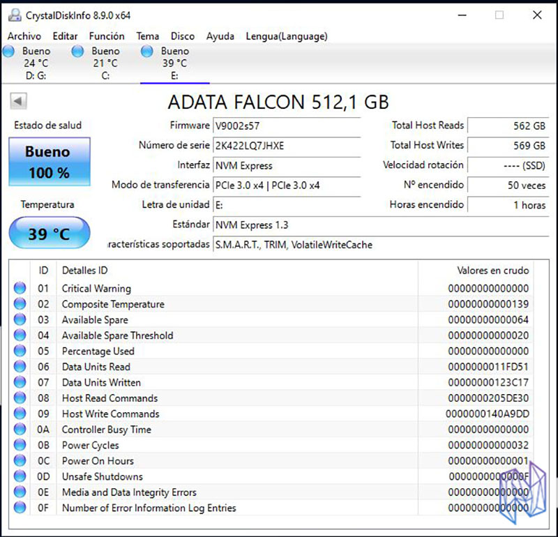 adata falcon review disk info