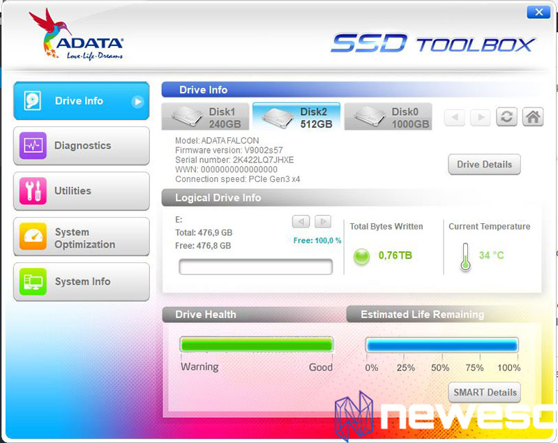 adata falcon review ssd toolbox