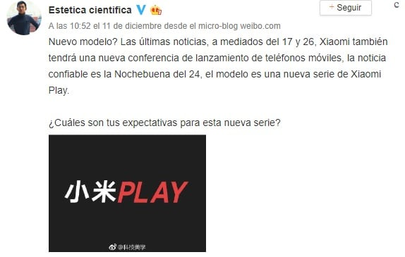 anuncio de Xiaomi Play en Weibo