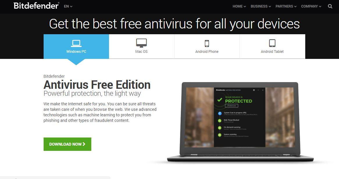 bitdefender - top mejores antivirus gratuitos 2017
