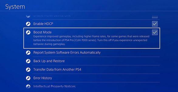 boost mode ps4 update
