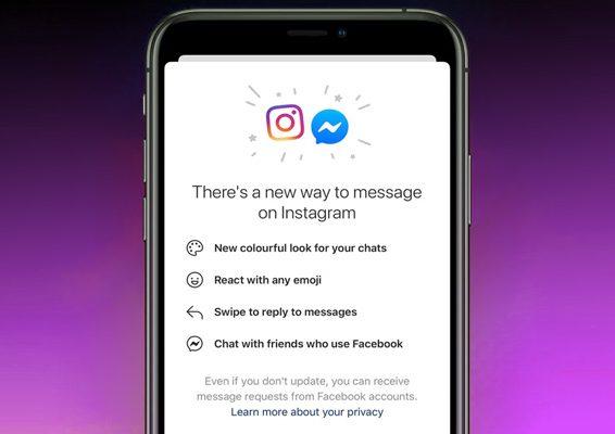 chats de instagram y messenger fusionados