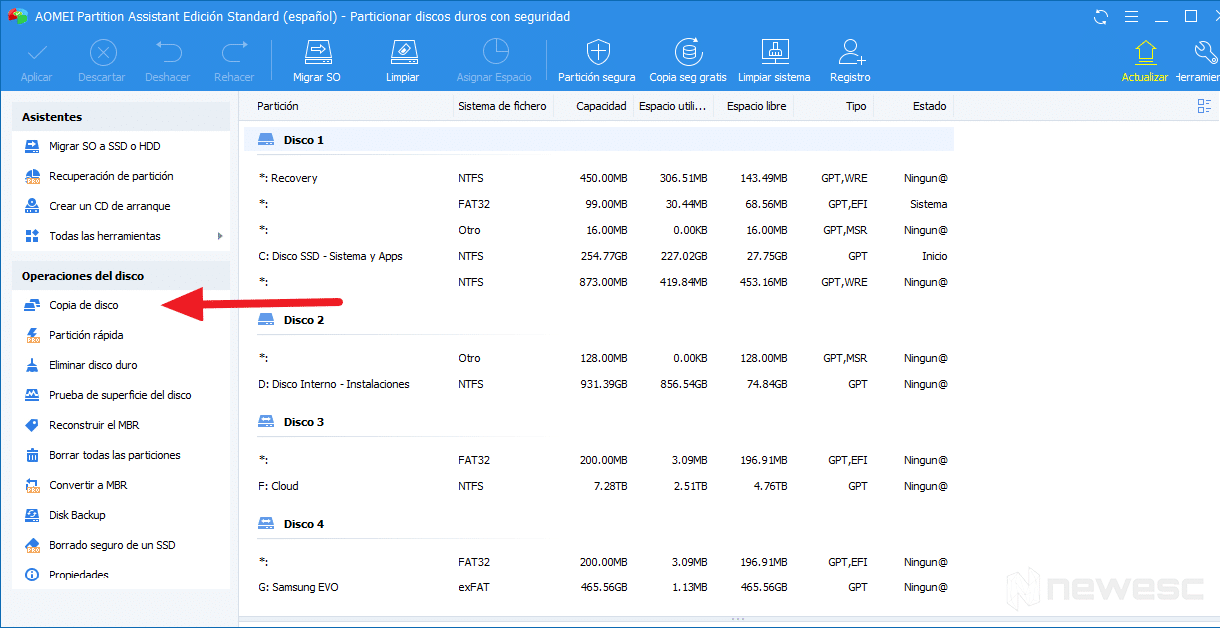 clonar disco duro en Windows 10 con AOMEI 001