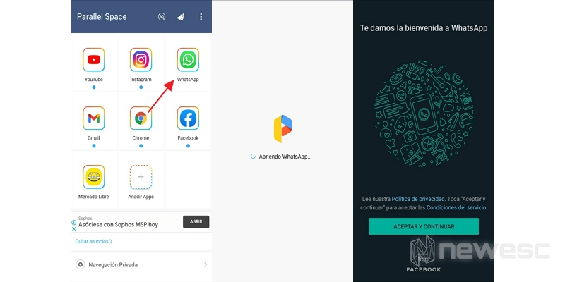 tener 2 whatsapp con parallel space
